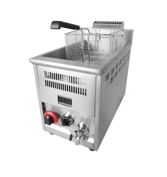 Commercial Restaurant Adjustable 8L LPG Gas Deep Fryer With Temperature Control