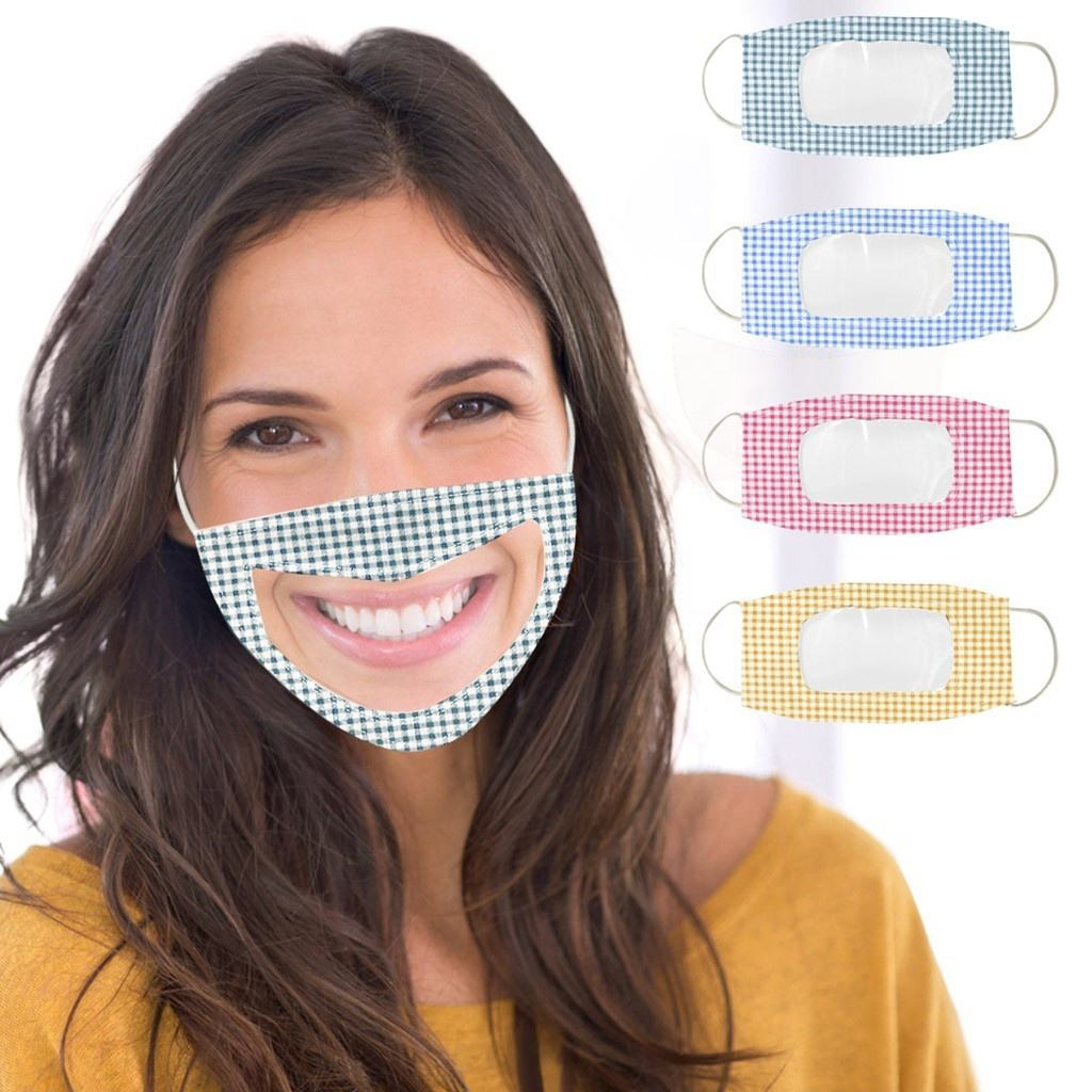 Dustproof Party Maskes Deaf Anti-dust Transparent Printed Lip Reading Facemask For Adult