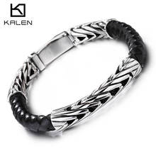 KALEN Wholesale Hand Made Armband Jewelry Accessories Men Leather Bracelet