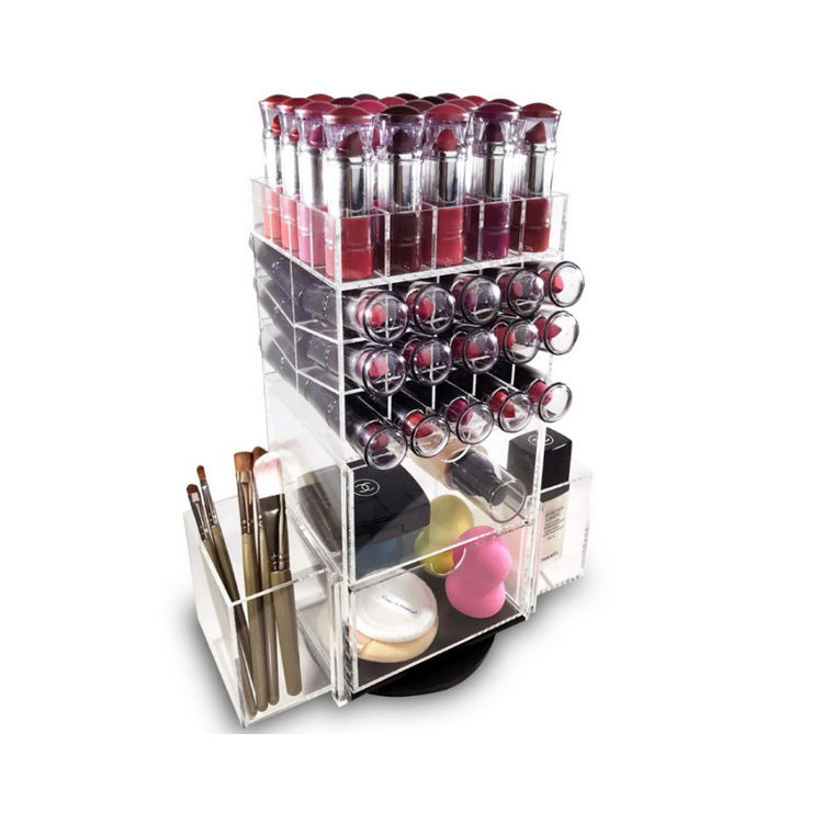 Clear Spinning Cosmetische Display Stand Houder <span class=keywords><strong>Toren</strong></span> Make-Up Borstel Roterende Acryl Lippenstift Organisator