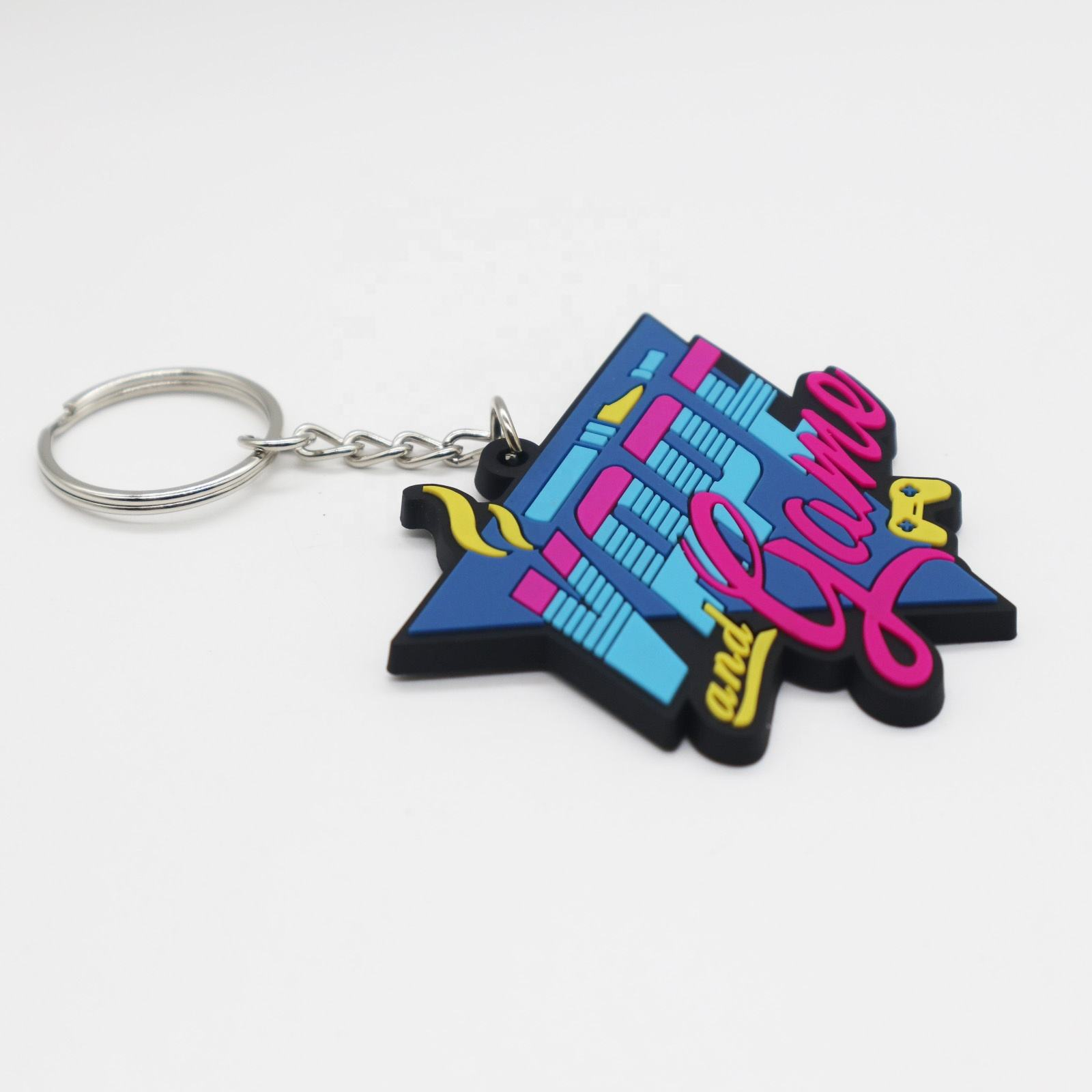 Custom Private Logo Rubber 2d Soft Pvc Keychain Rubber Plastic Key Chain Customized Name Pvc Keychain With Metal Ring