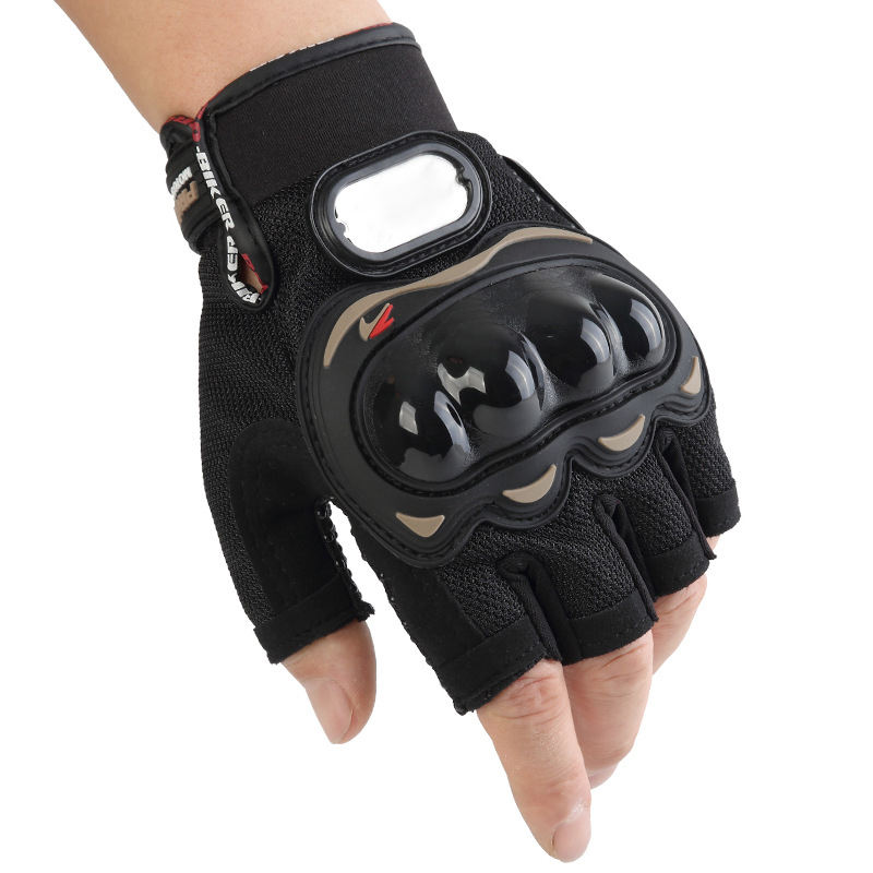 Racing Motorcycle Riding Leather Knuckle Protect Motorbike Motocross Half Finger Sports Gear Cycling Gloves