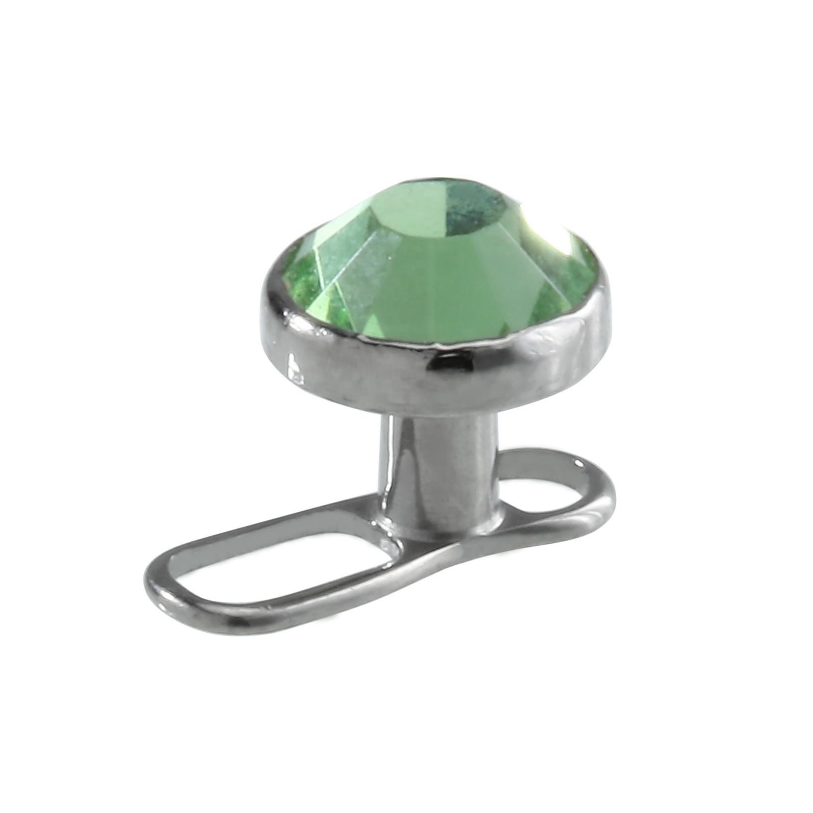 ASTM F136 Titanium multi-facted CZ gem Dermal anchor top Monili Penetranti Del Corpo