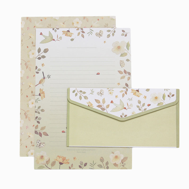 Floral A5 Envelope With Letter Paper Letter raft Set Retro Cute Cartoon Envelope 10 Styles