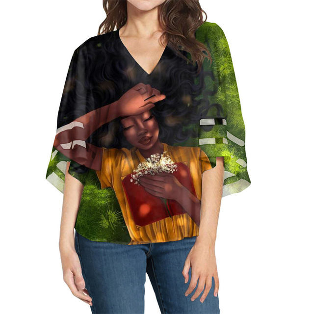 Coole Afro Black Girls Pattern Designs Glocken ärmel Bluse für lässige Mädchen Frauen Loose Style Party Tops Chiffon Ropa