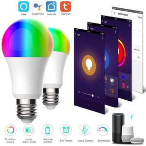2020 hot selling Tuya Google assistant Alexa 9W wifi rgb e26 e27 dimmable smd lights raw material lamp home led smart bulb
