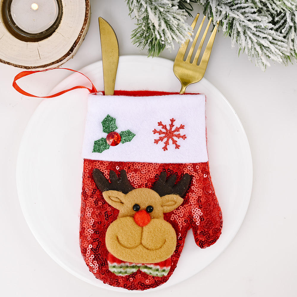 Christmas New Products Decoration Sequined Knife And Fork Set Cartoon Snowman Flannel Sequined Socks