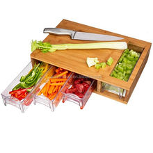Large wood bamboo cutting board with containers