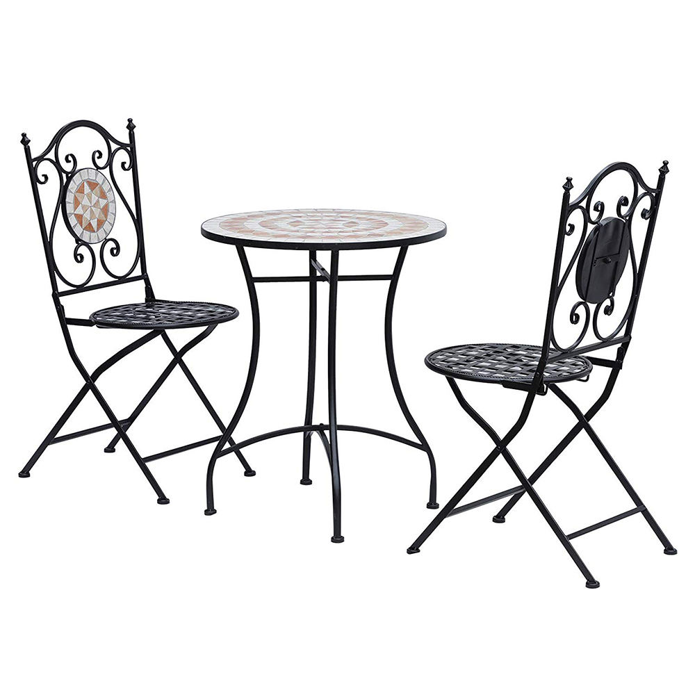 indoor outdoor mosaic Bistro table and metal folding chair table set