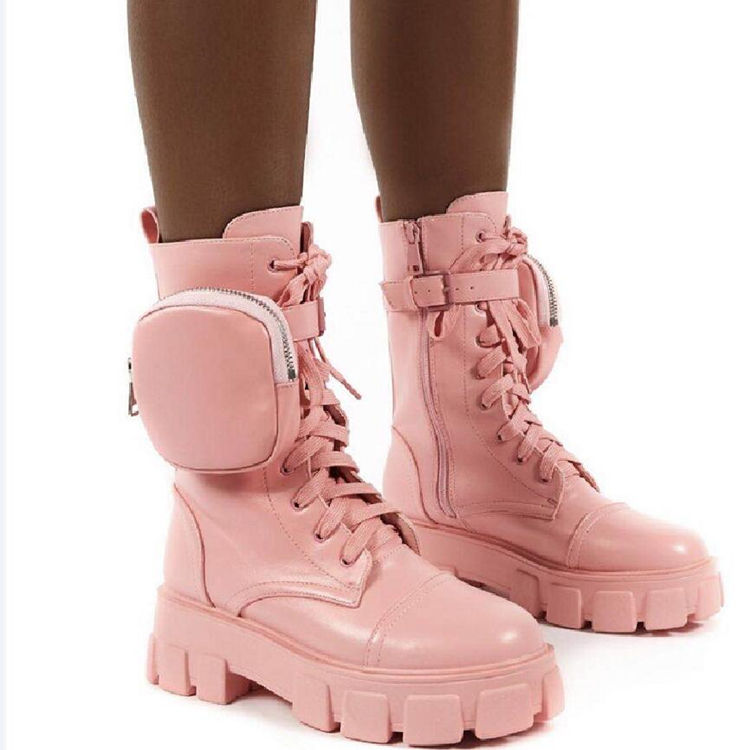 Boots Women New 2020Booty Woman fashion shoes Women's Low Shoes Luxury Designer Booties Ladies Round Toe Military Mid Calf Boots