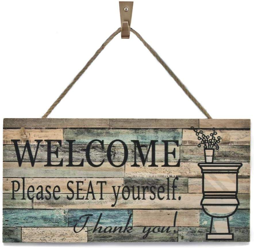 OYEFLY Wall Art Sig Printed Wood Plaque Sign Wall Hanging Welcome Sign Please Seat yourself