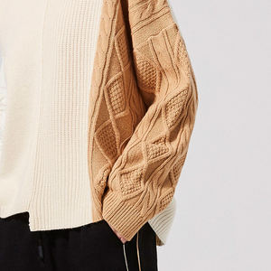 Naivee new arrival long sleeve crew neck splice pullover stitching cable sweater women fall sweaters