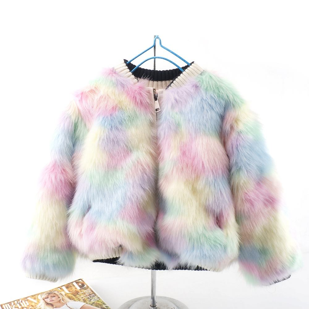 2020 new arrive winter kids faux fur coat rainbow women faux fur jacket