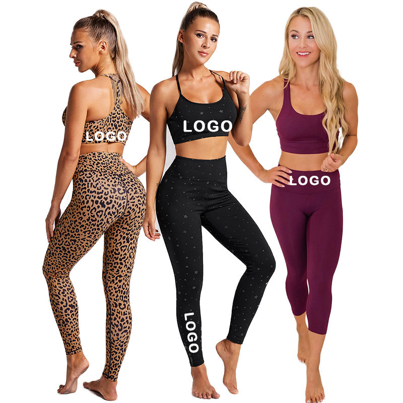 2020 Hot Sale Explosion Sports Yoga Clothing Fitness Wear High Waisted Workout Leggings Yoga Set