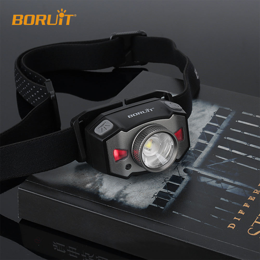 BORUiT support OEM ODM B33 5W Red Light Zoomable Mini Running Head lamp Lightweight USB Rechargeable LED Headlamp