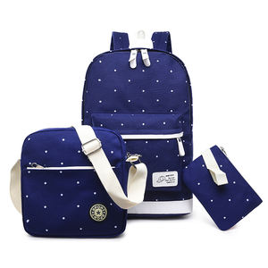 Dot pattern 3pcs 3 in 1Durable popular Korean Kids Teenager Backpack Cute School Bag Set Girl