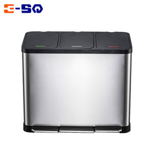 45L Kitchen Triple Rubbish Waste Recycling Pedal Three Compartment Metal Dust Bin
