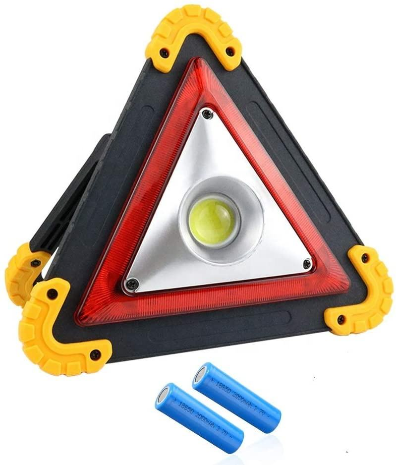 Portable LED Work Light Triangle Car Warning Light for Car Repairing Emergency Hurricanes 3 AA Batteries Included