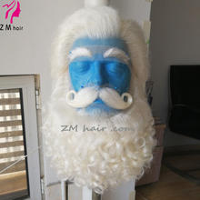 ZM HAIR  white yak hair santa claus wig and beard set with lace mustache and lace eyebrows