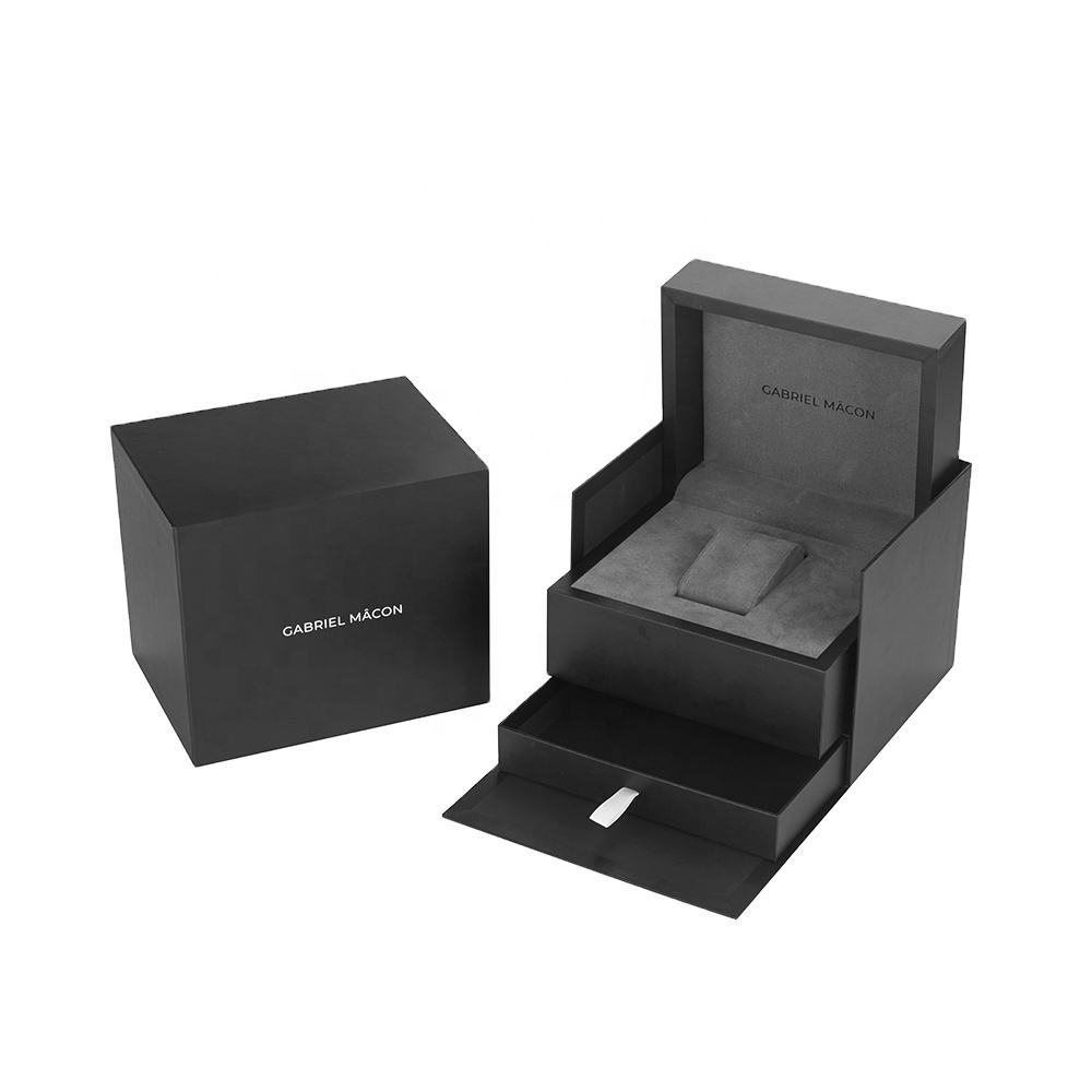 Custom Logo Gift Display OEM Packaging Storage Luxury Black Rigid Cardboard Paper Watch Box Cases