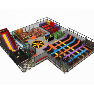 TUV ASTM ISO90001 Certificated Basketball Set Free Jumping Amusement Park Indoor Trampoline Parks With Colorful Slide