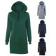 Women custom cheap slim fit plain oversized hoodies fleece long hoodie dress