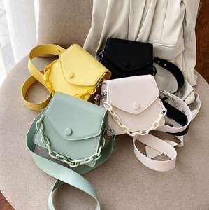 Solid Color Thick Chain Small PU Leather Crossbody Bags For Women 2020 Summer Shoulder Cross Body Bag Ladies Handbags
