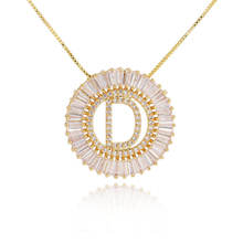 hot sell foxi jewelry round shape initial letter cz pendant alphabet  initial letter necklace jewelry for women 2020