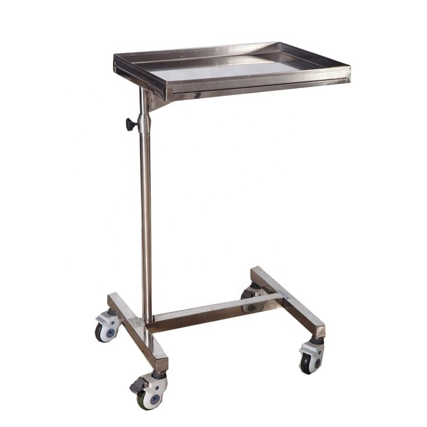 Clinic Furniture Stainless steel medical tray Mobile stand surgical mayo Table Medical Medicine trolley with lockable wheels