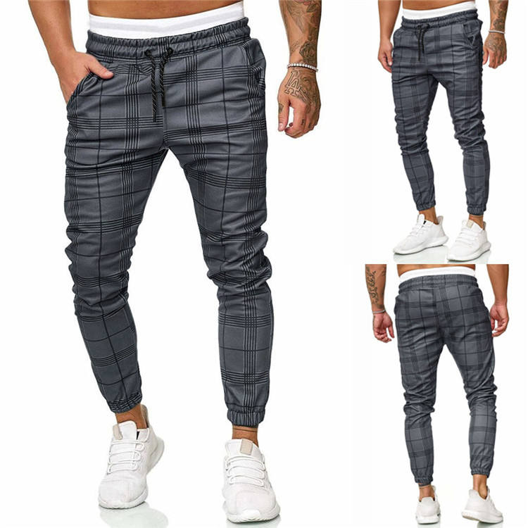 FREE Shipping Men's Sport Pants Long Summer Slim Fit Plaid Trousers Running Joggers Chino Sweatpants Ankle-Length Pant
