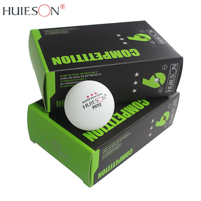 HUIESON Cheap Celluloid 40mm Custom Printed 3 Stars White Ping Pong Table Tennis Ball