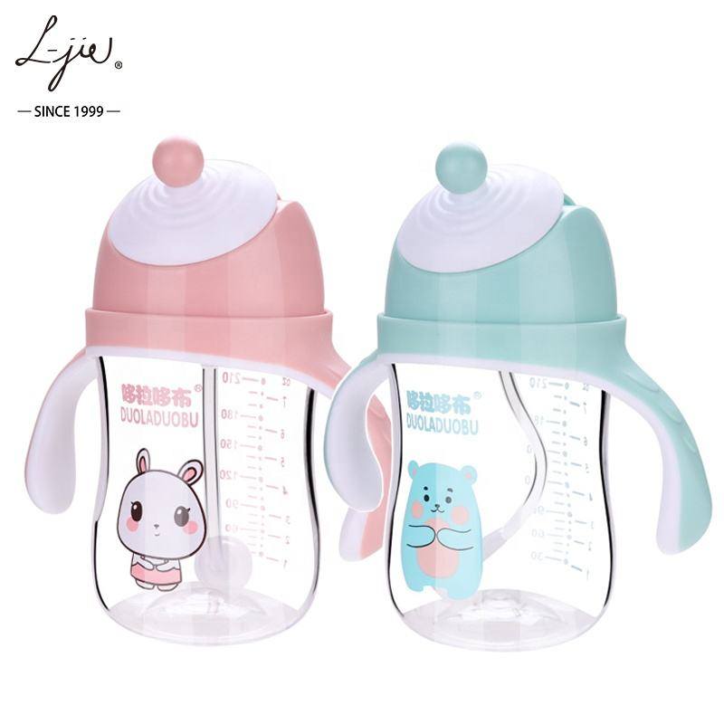 BPA Free Tritan material Children Kids Water Bottle Straw Baby Sippy Cup Baby Water Feeding Bottle With Handle