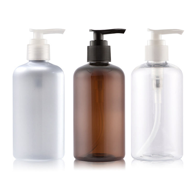 250ml 300ml 500ml White Amber Clear Round PET Bottle with White Pump Sanitizer Packaging Hand Washing Lotion Bottle