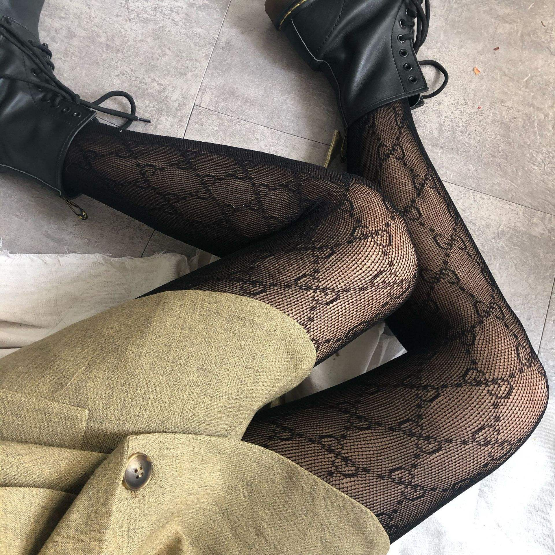 Customize G or F Brand Logo Fishnet Tights Letter Print Popular Black Stockings Pantyhose