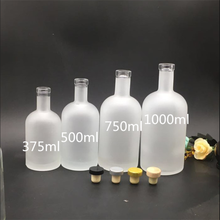 375ml,500ml,700ml Frosted white wine Whiskey empty round glass bottle with cork