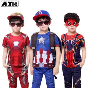 Hot Sale Baby Child Cosply Costume Captain Spider Man Iron Super-man Short Sleeve T-shirt + pants Boy Summer Suit