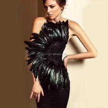 "High Quality Women""Black Bandage Dress Summer Strapless Sexy Bodycon Dress Feather Elegant Celebrity Party Dress Vestidos"