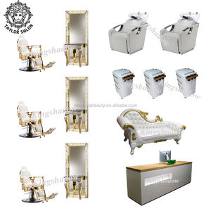 Barber shop styling chair salon equipment and furniture package with mirror station