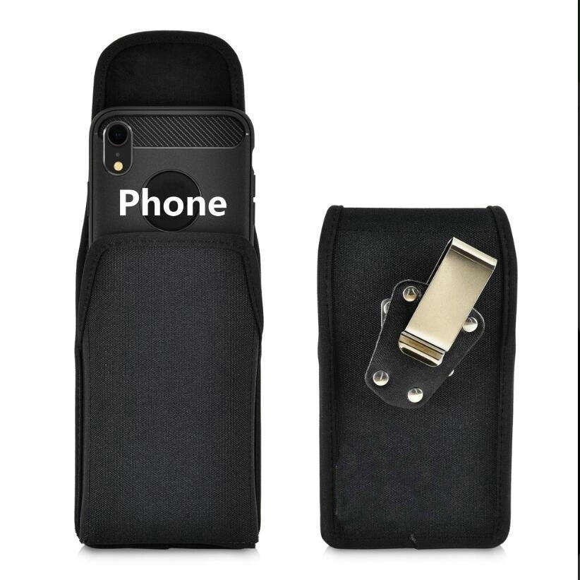 Belt Clip Vertical Holster Case Black Nylon Pouch With Heavy Duty Rotating Clip