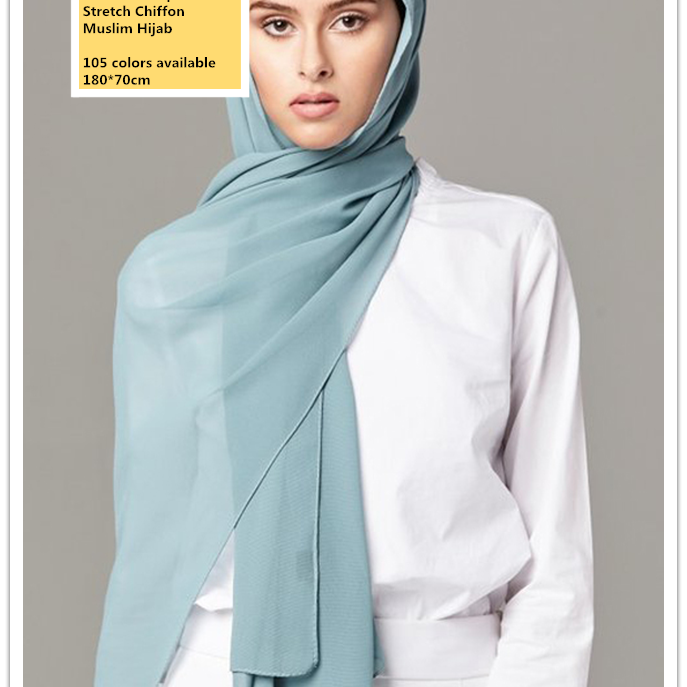 Best Selling Wholesale High Quality Plain Georgette Scarf Ladies Fashion Wraps Soft Stretch Chiffon Muslim Hijab