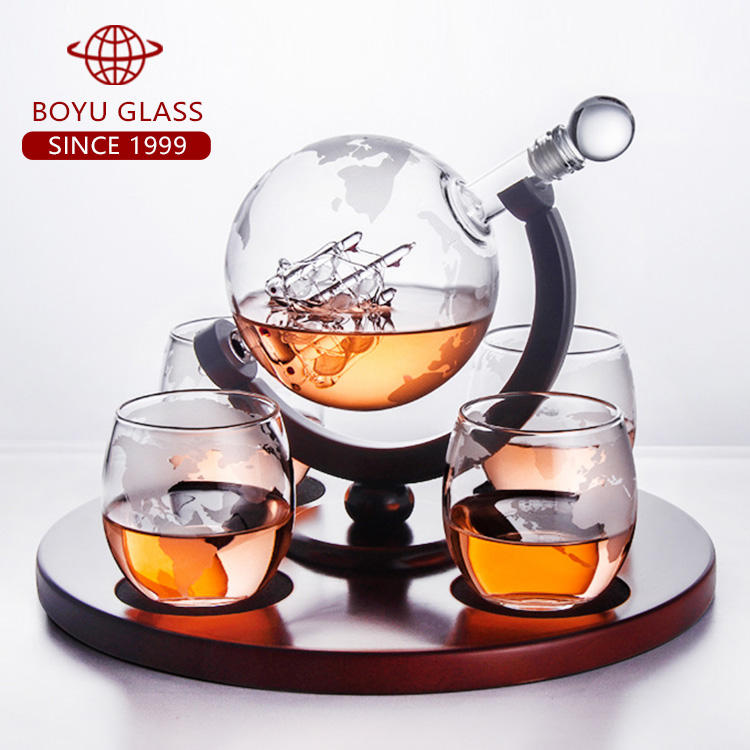 Amazon Handmade 1000ML Whiskey Globe Decanter inner With Wood Base with 2 cups