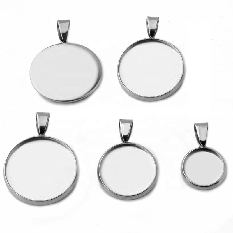 Stainless Steel Metal Pendant Blank Settings Base Bezel Trays Fit 6/8/10/12/14/16/18/20/20/25 mm Cabochon Glass Jewelry Making
