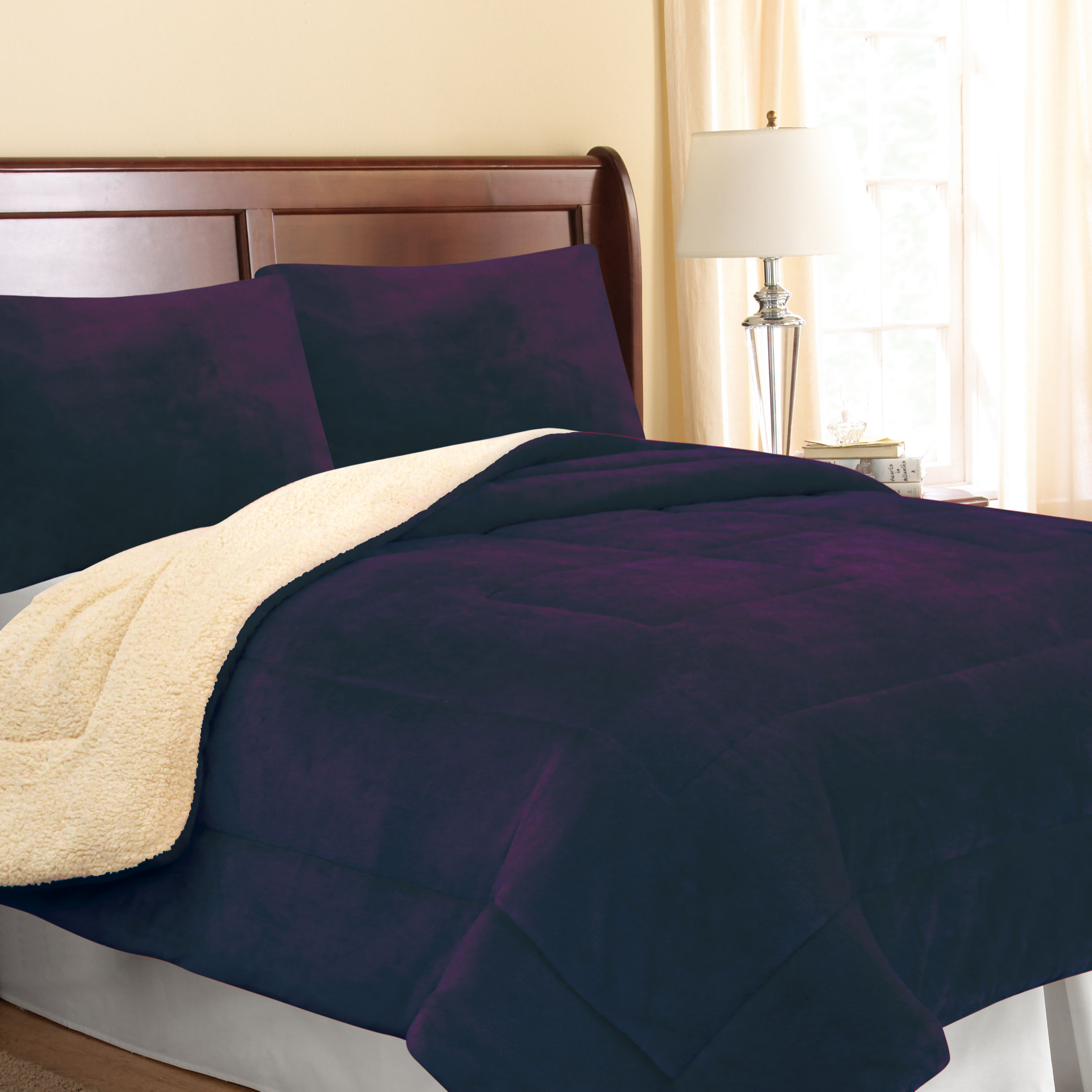 Solid Color 3pcs Flannel Sherpa High Quality Verifiable Borrego Comforter