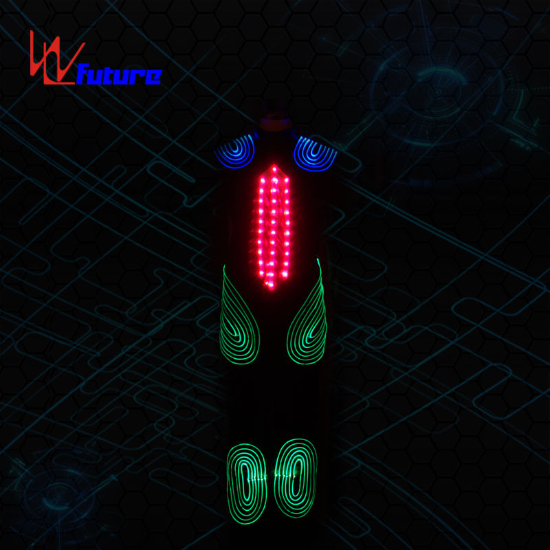 Fiber Optic & LED Robot Costume LED Dance Clothing Led Tron Costume glow in the dark dresses wireless control programmable