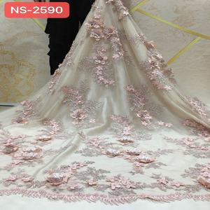 2020 handwork african french lace fabric good quality 3d beaded lace flower clothing fabric for wedding dress