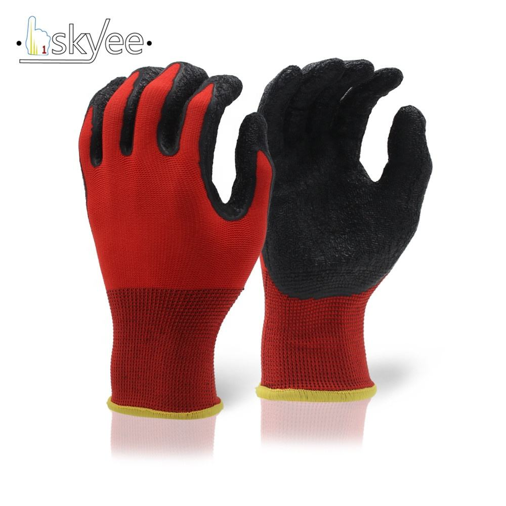 SKYEE flexible and comfortable dyeing nylon liner slip resistant crinkle latex coated Hi-Vis garden glove