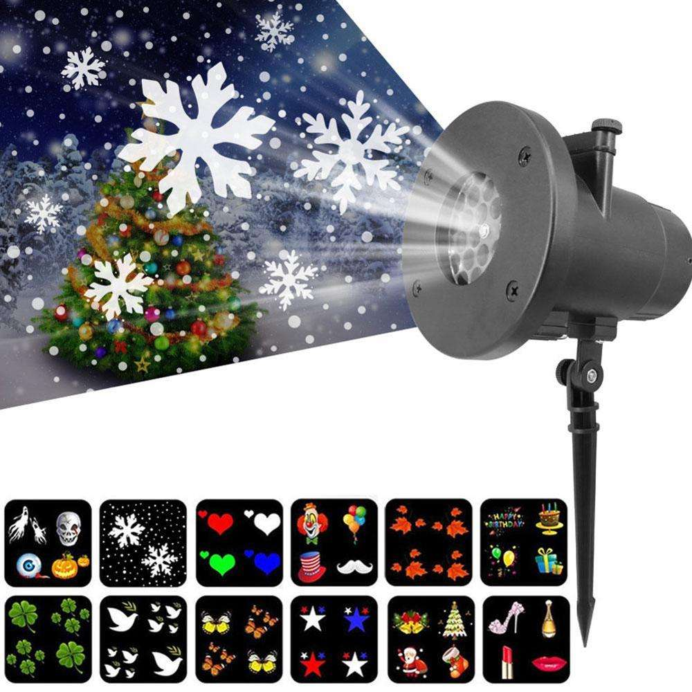 12 Slides Kerst Decoratie Projector Laser Lamp Kerstman Holiday Gift Led Sneeuwvlok Projector Licht