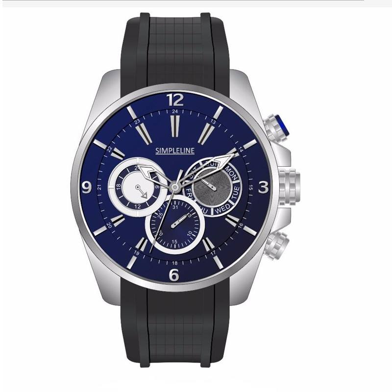 Multi-functional men's wristwatches black silicone wristwatches strap polished and unpolished stainless steel chronograph