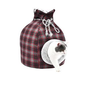 Classic plaids chenille fabric comfortable warm soft cat small pet house cave bed