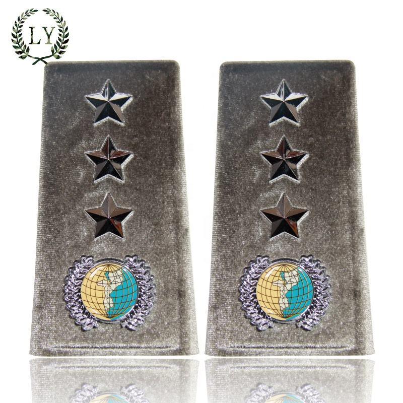 Silver Pair of Narrow Twisted Bullion Shoulder Board Epaulettes